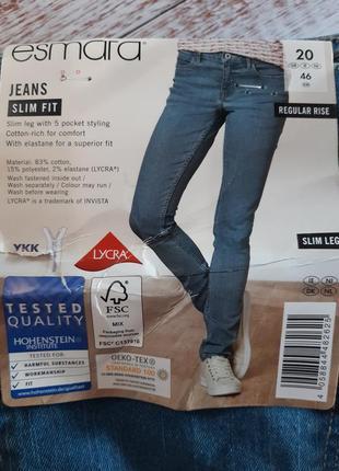 Синие джинсы slim fit, xxl-3xl 46 euro, (наш 52), esmara, германия