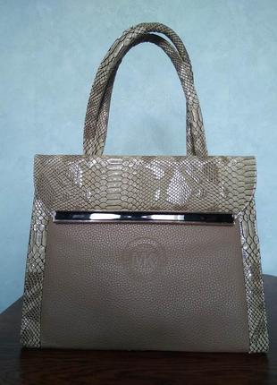 Шикарная вместительная бежевая сумка michael kors с двумя ручками/экокожа/