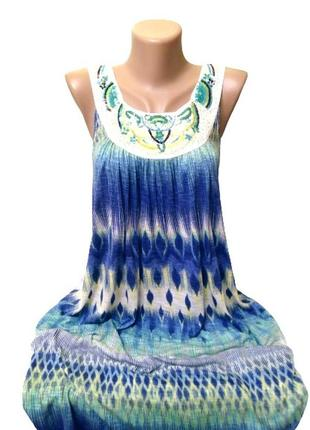 Идеальное миди платье f&f, сарафан из вискозы с вышивкой на декольте, m-xl, индия