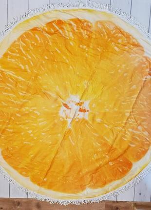 Пляжный круглый коврик с бахромой апельсин