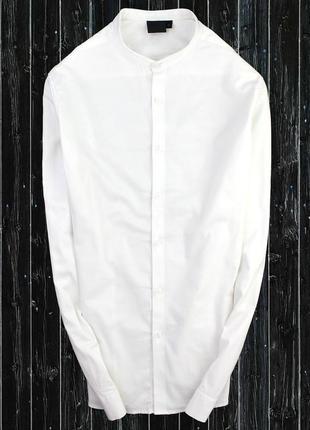Стрейчевая рубашка с воротником стойка