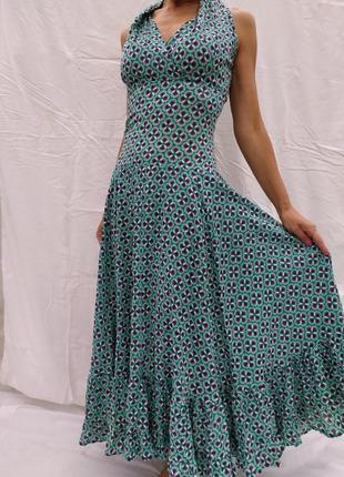 Красивое комфортное хлопковое платье с оборкой, р.s-m