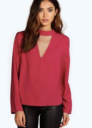 Блуза свободная с чокером boohoo