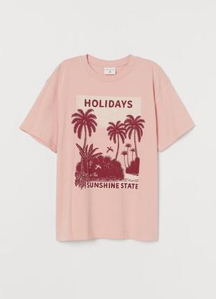 Xs/м/l h&m новая натуральная фирменная женская футболка с принтом holidays