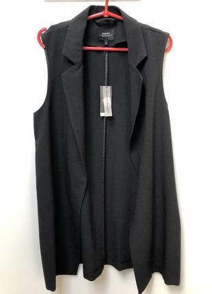Кардиган черный длинный с карманами/жилет