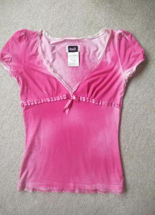 Розовая футболка dolce&gabbana рукава-фонарики