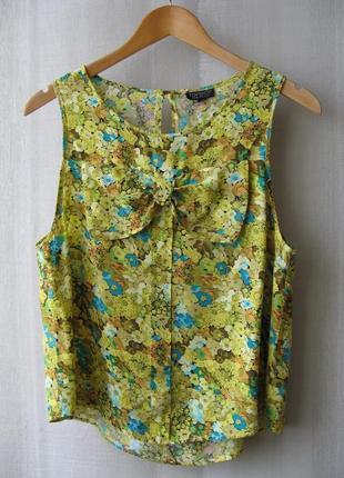 Блузка британского бренда topshop, декорирована бантом на лифе
