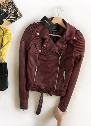 Новая обалденная замшевая куртка-косуха с поясом amisu (кожанка)