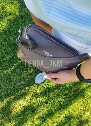 Клатч повседневный baliviya fashion f758 хаки / сумка через плечо на три отделения