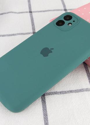 Зеленый силиконовый чехол с микрофиброй iphone 11