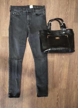 ❤️❤️❤️ завышеные джинсы скинни с дырами на коленях