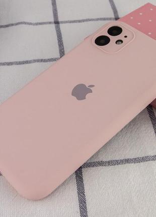 Розовый силиконовый чехол с микрофиброй iphone 11