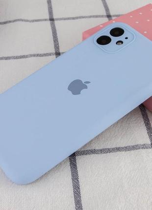 Голубой силиконовый чехол с микрофиброй iphone 11