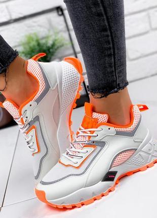 Новые женские бело-оранжевые кроссовки