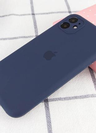 Синий силиконовый чехол с микрофиброй iphone 11