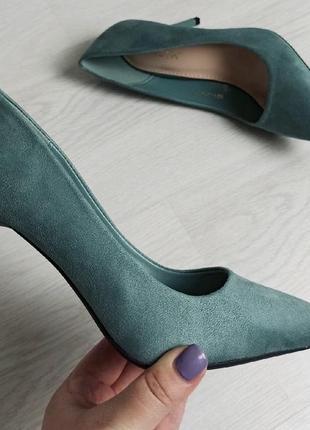 Женские туфли-лодочки на каблуке 9,5 см, цвет морской волны, 2511