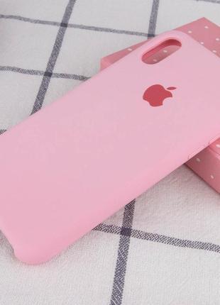 Розовый силиконовый чехол с микрофиброй iphone xr