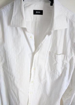 Рубашка hugo boss белая в полоску