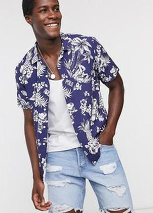 Мужская рубашка с коротким рукавом / тенниска / шведка в принт листья