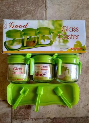 Набор  банок  с ложками *glass caster*