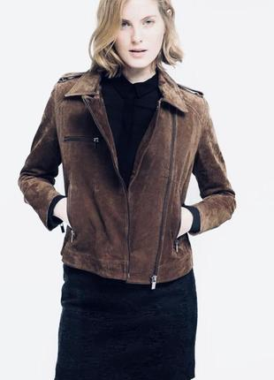 Кожаная куртка косуха натуральная замша