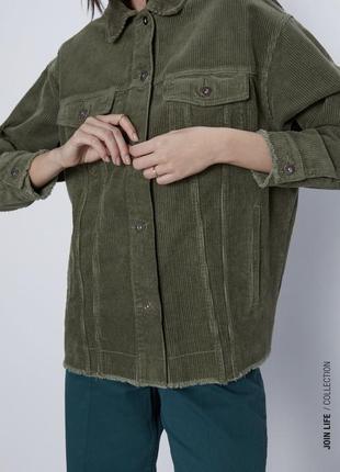 Вельветовая рубашка цвета хаки zara