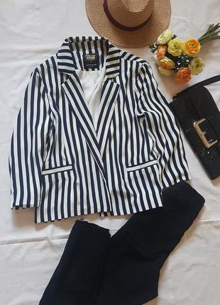 Жакет пиджак блейзер укороченный в полоску новый