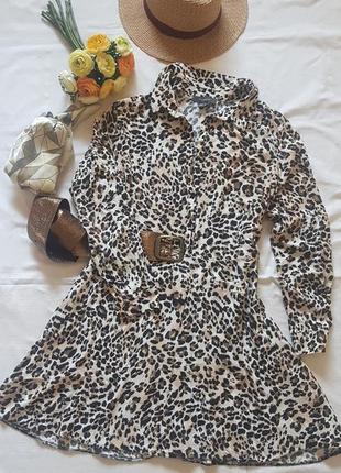 Легкое платье анималистичный принт леопард вискоза