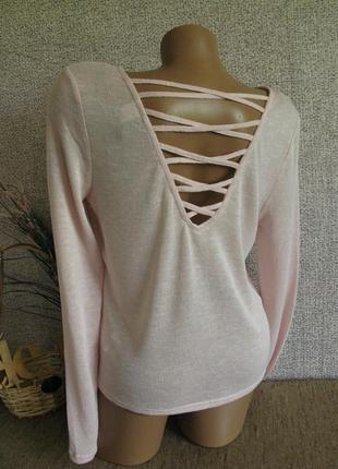 Мягкая розовая кофточка с красивой спинкой h&m eur 38-40