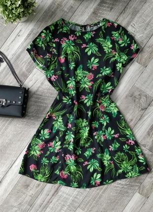 Легкое платье / сарафан цветочный тропический принт