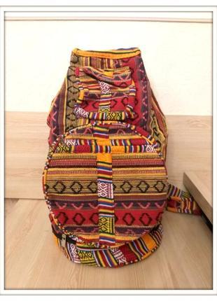 Тканевый большой складной рюкзак красный этно