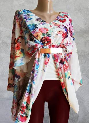 В наличии красивая нарядная свободная блузка принт цветы parisian collection