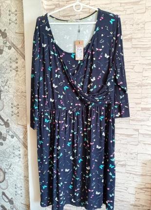 Легкое вискозное платье мини-батал 💣