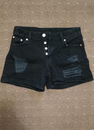 Короткие джинсовые чёрные шорты на высокой посадке высокая посадка monki