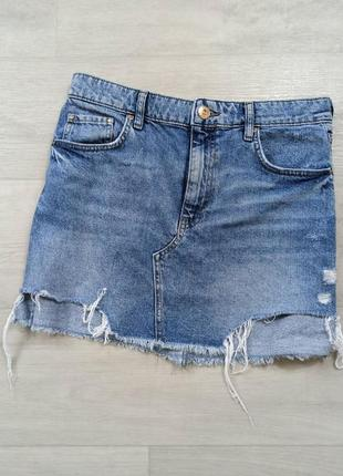 Джинсовая юбка с рваностями