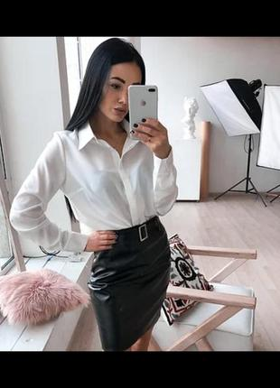 Базовая брендова рубашка, сорочка топ поло блузка  біла