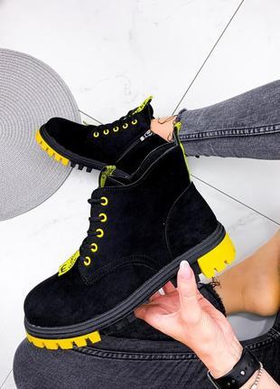 Новые женские демисезонные чёрные  ботинки
