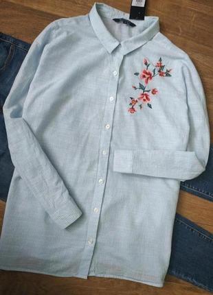 📢распродажа! котоновая рубашка в полоску, с вышивкой, сорочка, блузка, оверсайз, бойфренд