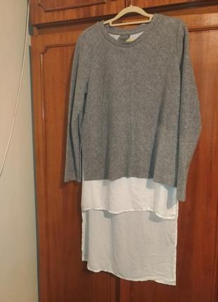 Кофта реглан худи свитшот с шифоновой подшитой рубашкой