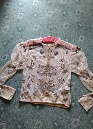 Королевская блуза-сетка с вышивкой бисером и пайетками