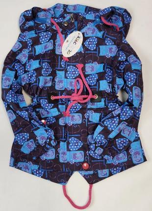 Демисезонная детская куртка ветровка для девочки коты синяя 2-7 лет  1868-1