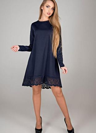 Платье эрин синее свободное повседневное с кружевом