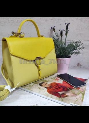 Клатч david jones cm5706t желтая / стильная сумка через плечо /