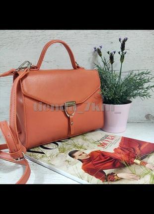 Клатч david jones cm5706t оранжевая / стильная сумка через плечо /