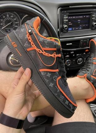 Мужские кроссовки🔺nike air force 1 low black orange x louis vuitton🔺