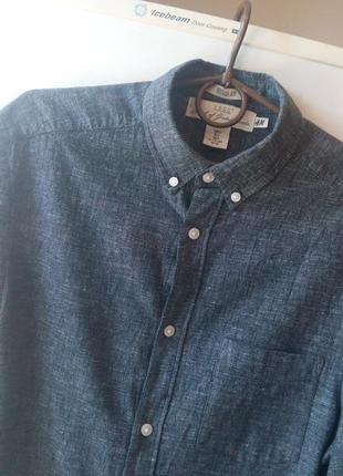 Классная мужская рубашка от «н &м», лен+хлопок