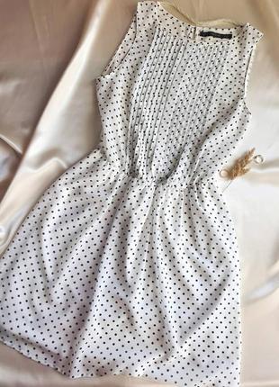 Платье zara в горошек шифоновое белое сарафан