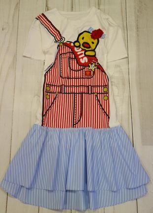Платье-футболка принт, m-l