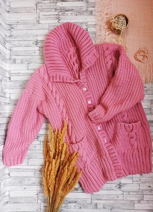 Теплый объемный длинный кардиган пальто крупная вязка большого размера батал hand made