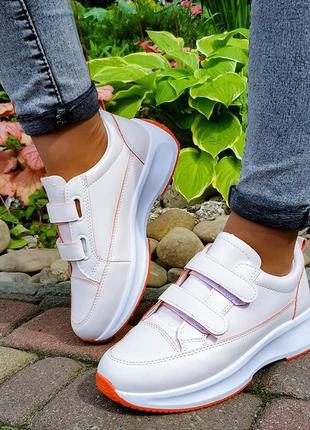 Модные женские кроссовки на липучках)